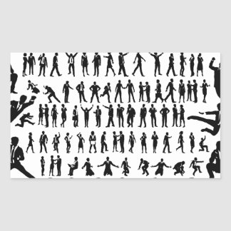 Business People Silhouettes Big Set Rectangular Sticker