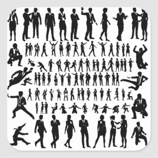 Business People Silhouettes Big Set Square Sticker