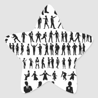 Business People Silhouettes Big Set Star Sticker