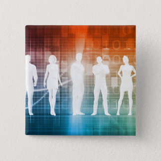 Business People Standing in a Row Confident 15 Cm Square Badge