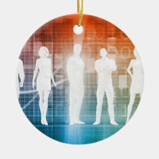 Business People Standing in a Row Confident Ceramic Ornament