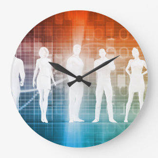 Business People Standing in a Row Confident Large Clock