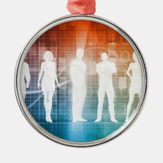 Business People Standing in a Row Confident Metal Ornament