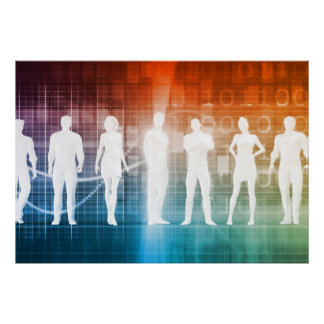 Business People Standing in a Row Confident Poster