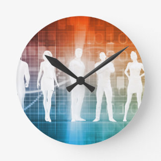 Business People Standing in a Row Confident Round Clock