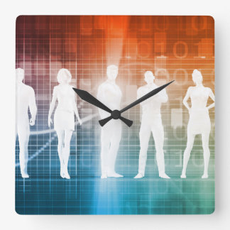 Business People Standing in a Row Confident Square Wall Clock