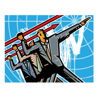 Business people throwing arrow sign postcard