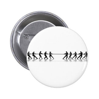 Business people tug of war competition buttons