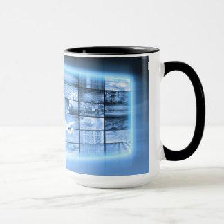 Business Person Working with Modern Virtual Techno Mug