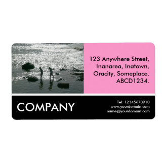 Business Photo - Stepping Stones - Pink Shipping Label