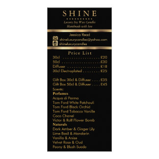 Business Product / Price List Rack Card
