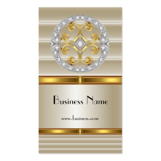 Business Profile Card Elegant Cream Gold Deco Pack Of Standard Business Cards