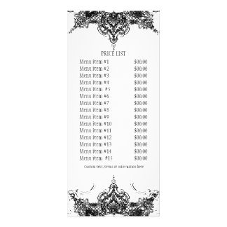 Business Rate Card - Toile Damask Swirl Floral Custom Rack Card