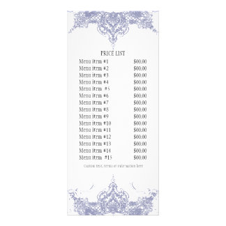 Business Rate Card - Toile Damask Swirl Floral Full Color Rack Card