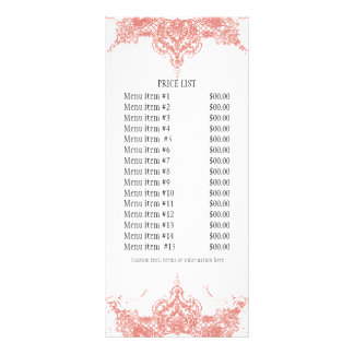 Business Rate Card - Toile Damask Swirl Floral Rack Card