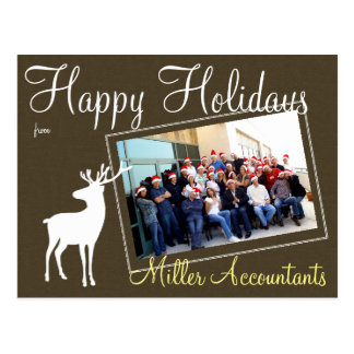Business Reindeer Christmas Holiday Photo Postcard