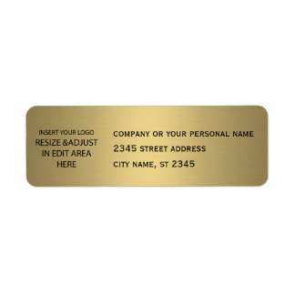 Business simple / insert logo golden return address label