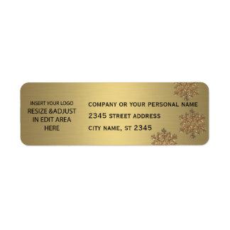 Business simple / insert logo golden snowflake return address label