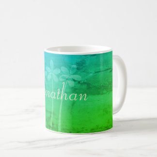 Business Spring Floral Vibrant Green Add Name Mug