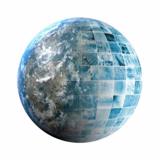 Business Technology Global Network with Futuristic Photo Sculpture Badge