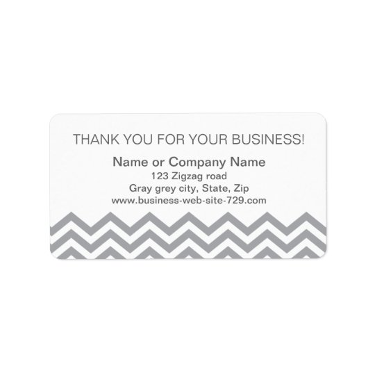 Business thank you address labels, grey chevron label