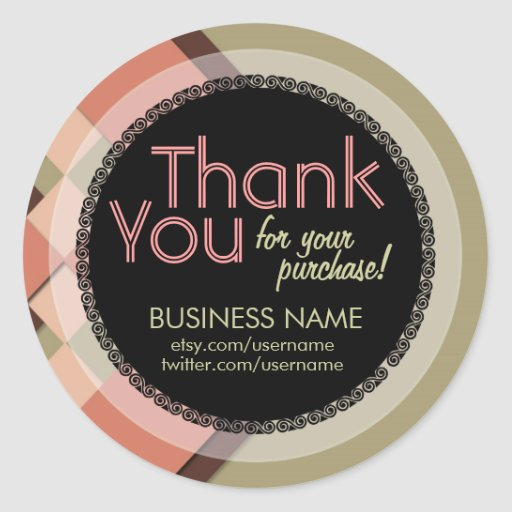 Business Thank You Apricot Tilez Sticker