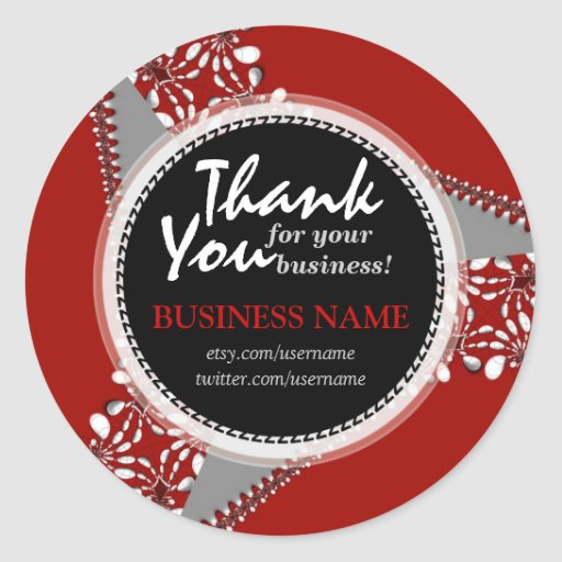 Business Thank You Bold Red + Silver sticker