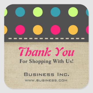 Business Thank You Candy Polka Dot Green Square Sticker