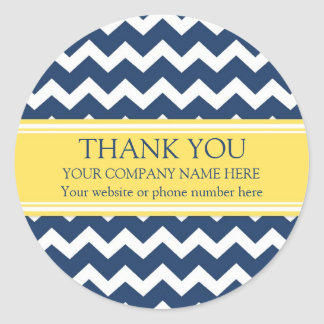 Business Thank You Company Name Blue Chevron Round Sticker