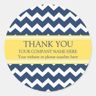 Business Thank You Company Name Blue Chevron Round Sticker