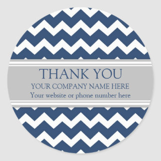 Business Thank You Company Name Blue Gray Chevron Round Sticker