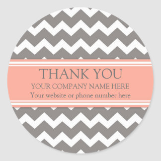 Business Thank You Company Name Coral Grey Chevron Round Sticker