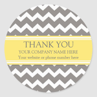Business Thank You Company Name Grey Chevron Round Sticker