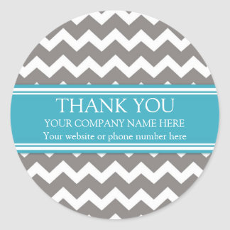 Business Thank You Company Name Grey Teal Chevron Round Sticker