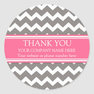 Business Thank You Company Name Pink Gray Chevron Round Sticker