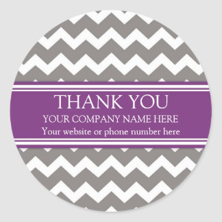 Business Thank You Company Name Plum Gray Chevron Round Sticker