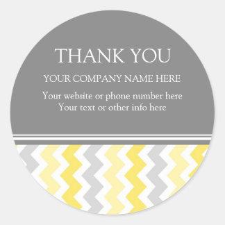 Business Thank You Company Name Yellow Chevron Round Sticker