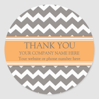 Business Thank You Company Orange Grey Chevron Round Sticker