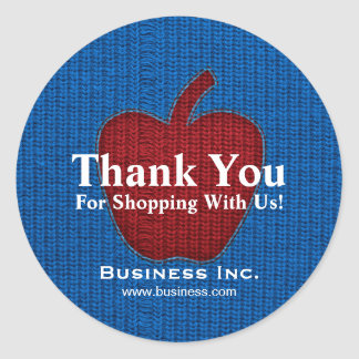 Business Thank You Cuddly Apple Red Classic Round Sticker