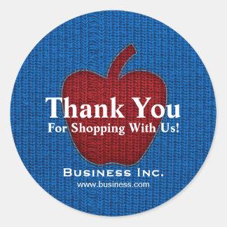 Business Thank You Cuddly Apple Red Round Sticker