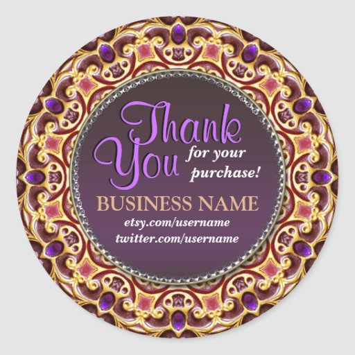 Business Thank You Decorative Gems stickers