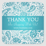Business Thank You Fashion Paisley Turquoise Square Stickers