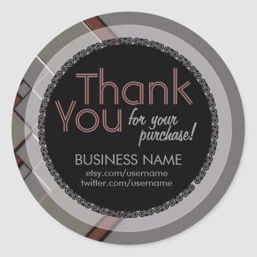 Business Thank You Silver Tilez Sticker