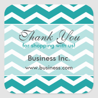 Business Thank You Teal Chevron Pattern Square Sticker