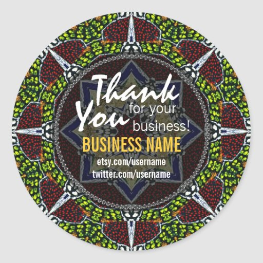 Business Thank You Tribal Earth Green sticker