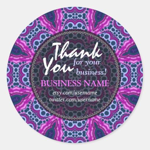 Business Thank You Tribal Pink + Purple sticker