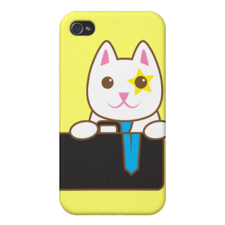 Business time Walnut cat Cover For iPhone 4