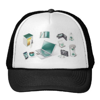 Business tools icons mesh hats