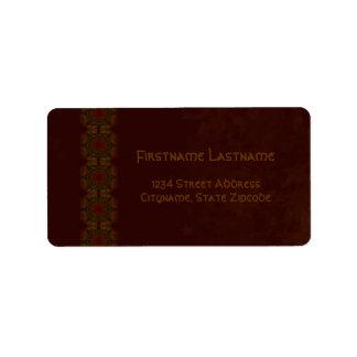 Business Vintage Fractal Polygons Brown v2 Address Label