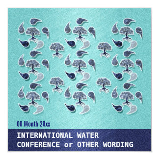 """Business water environment energy conference 5.25"""" square invitation card"""